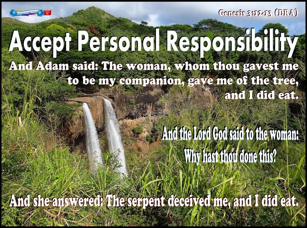 accepting personal responsibility It's me, not them or it i am personally responsible to god for faith recognition of his presence and his promises in the darkness for appropriation of.
